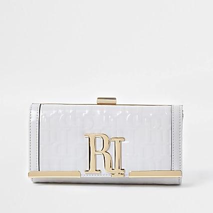 Grey RI embossed clip top purse