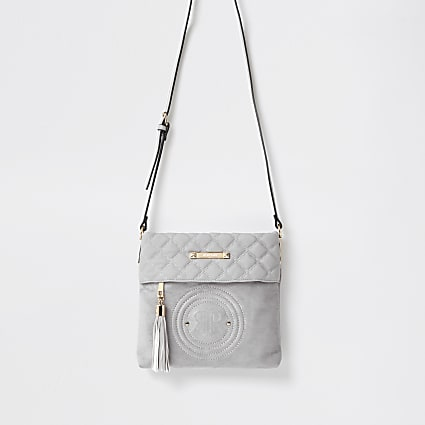 Grey RI Embossed Cross body Handbag