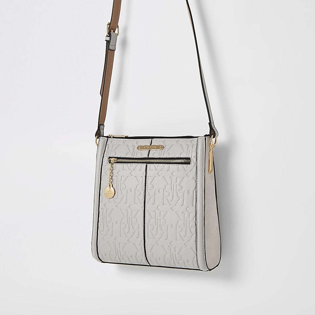 Grey RI embossed cross body messenger bag