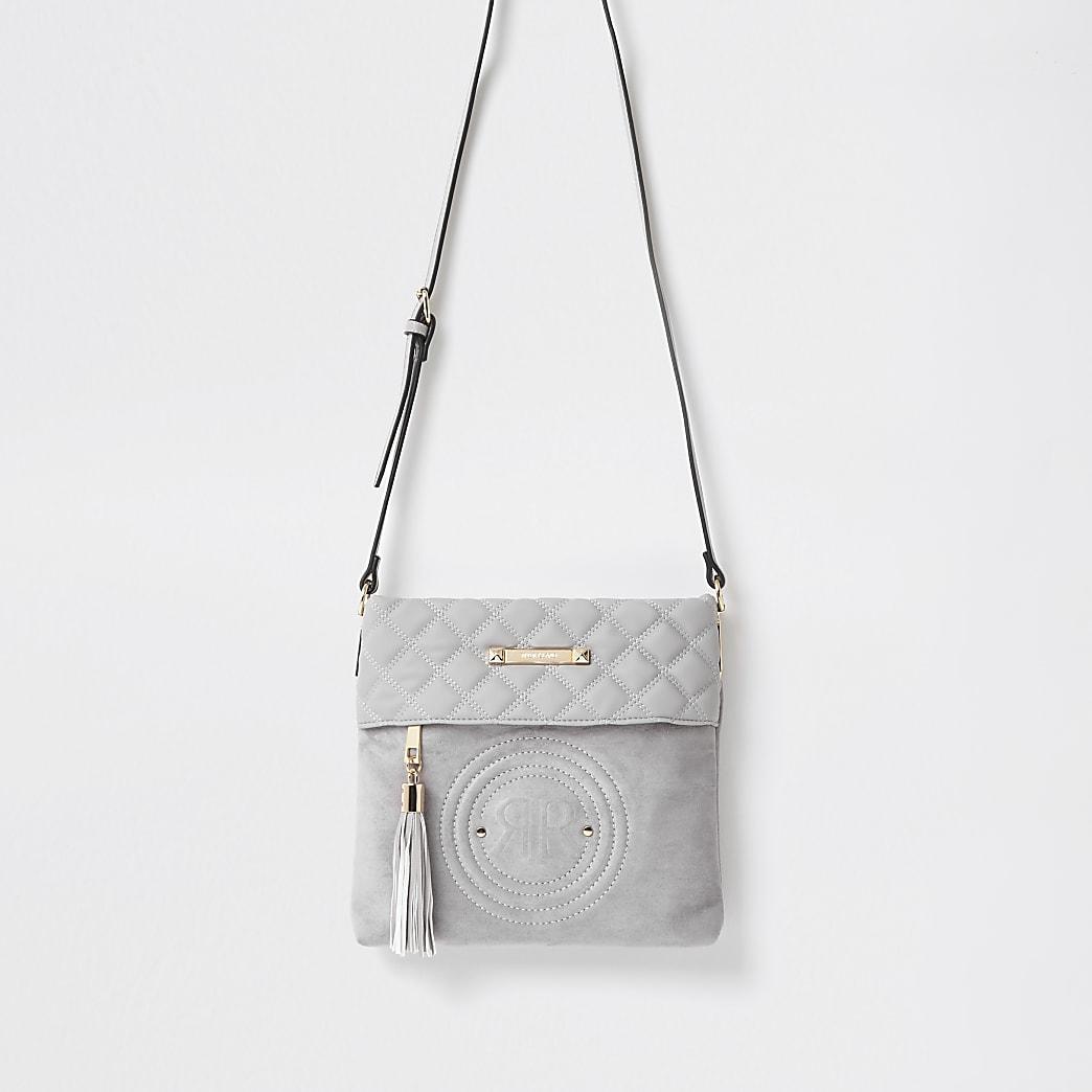 Grey RI embossed crossbody bag