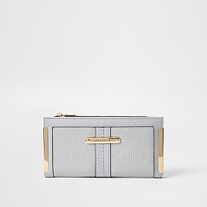 Grey RI embossed metal corner purse