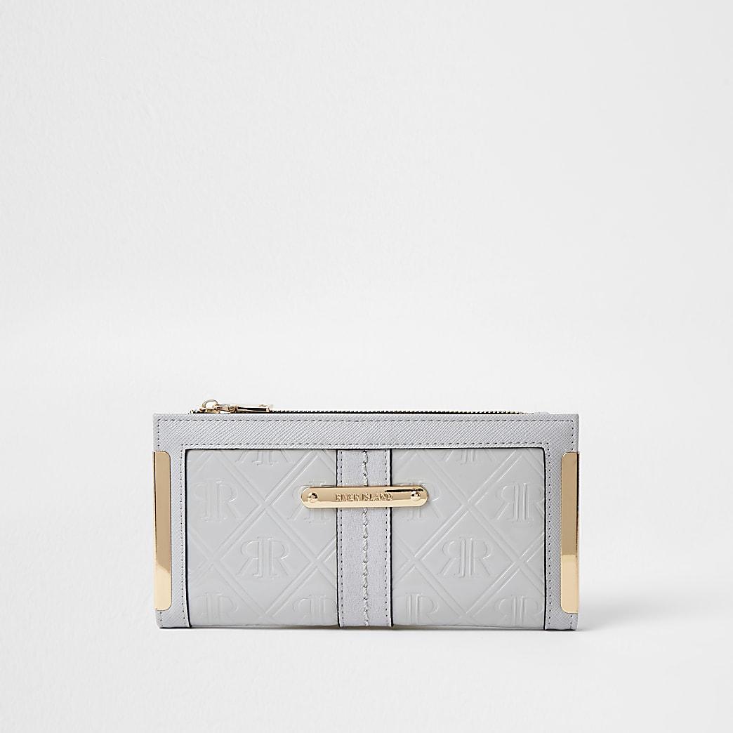 Grey RI embossed metal corner purse
