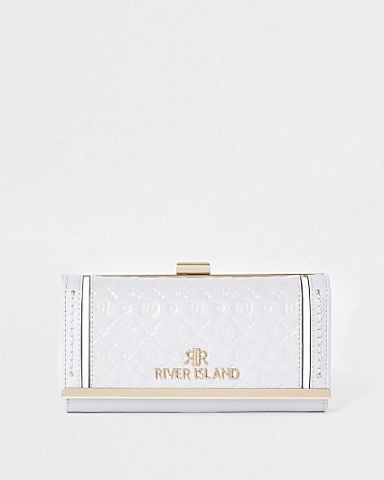 Grey RI embossed patent cliptop purse