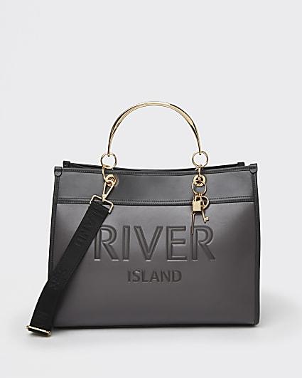 Grey RI embossed tote bag