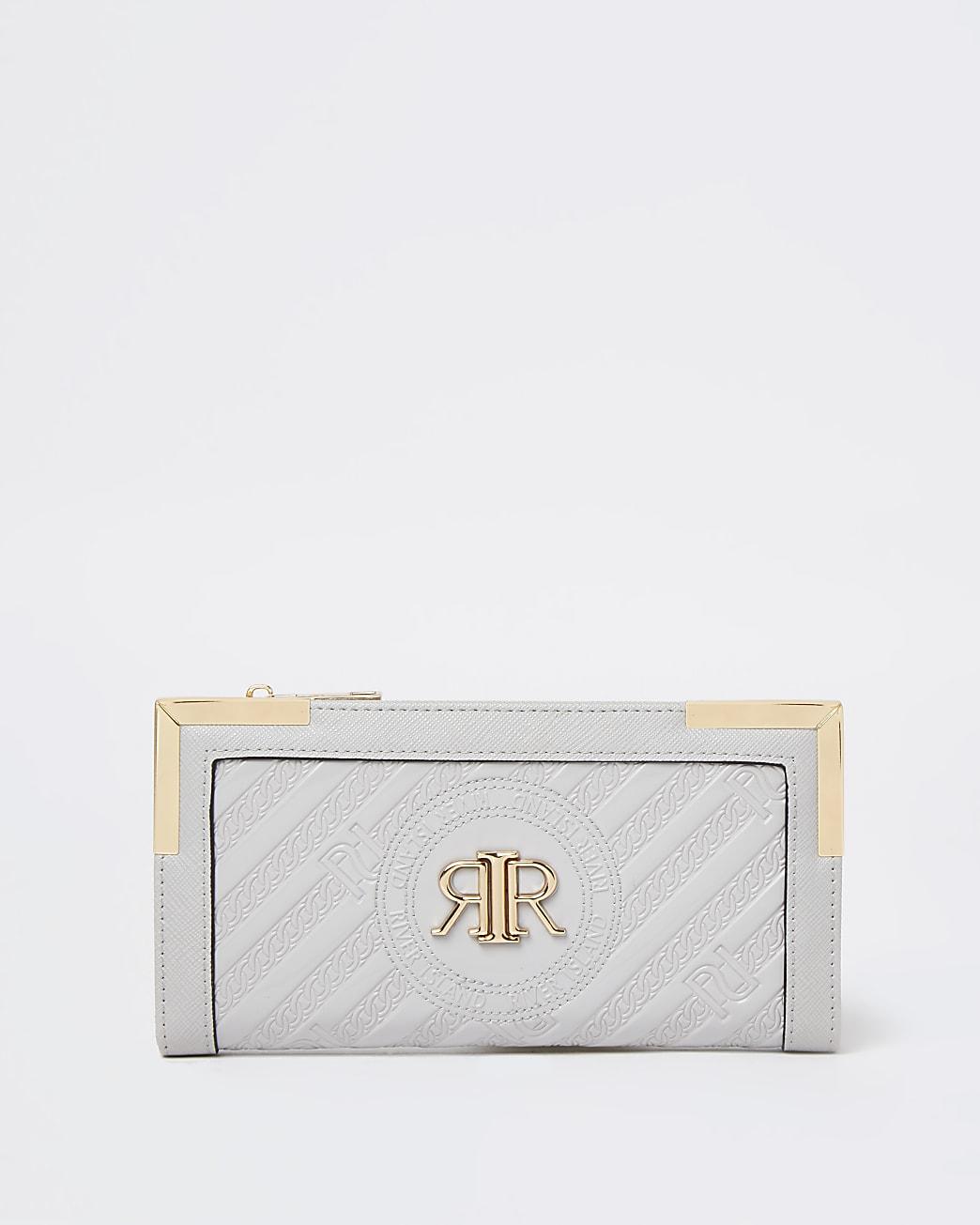 Grey RI embossed zip around purse