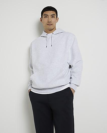 Grey RI embroidered regular fit hoodie