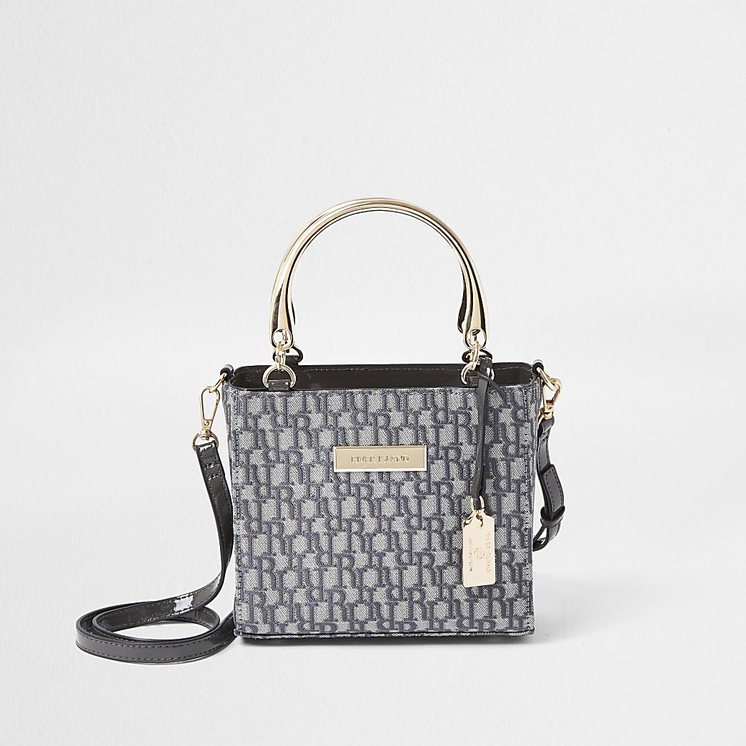 Grey RI jacquard tote bag