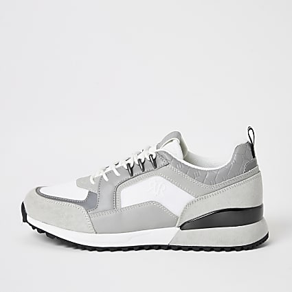 Grey RI lace-up runner trainers