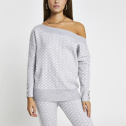 Grey RI logo off the shoulder top
