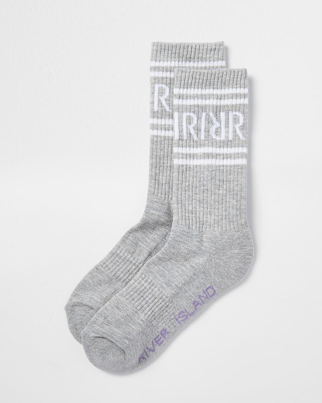 Grey RI logo tube socks