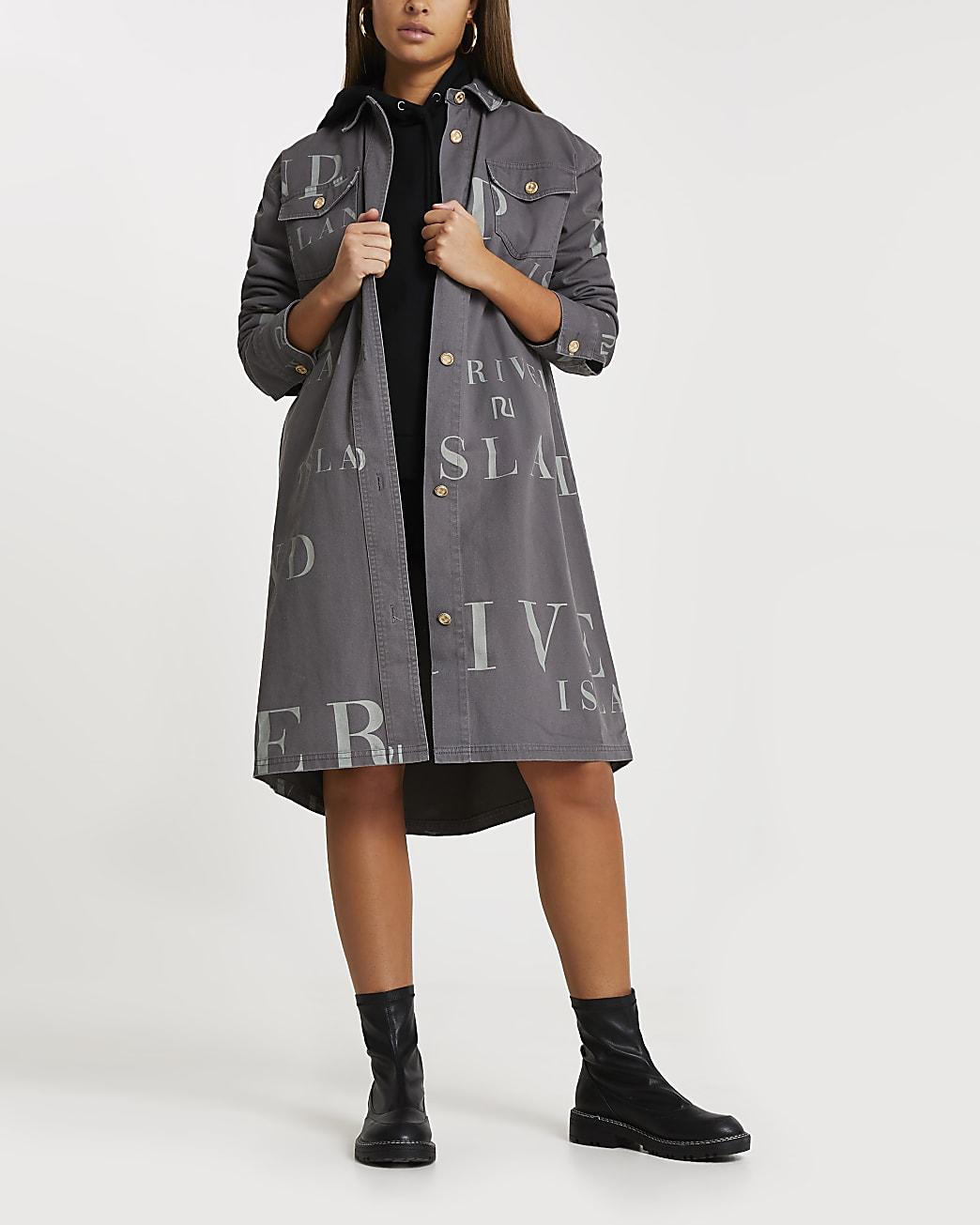 Grey RI longline shacket