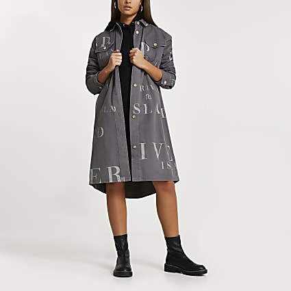 Grey RI longline shacket