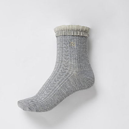Grey RI mesh frill cable knit sock