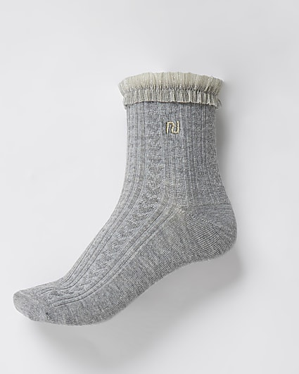 Grey RI mesh frill cable knit sock