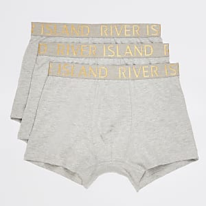 Grey RI metallic waist trunks 3 pack