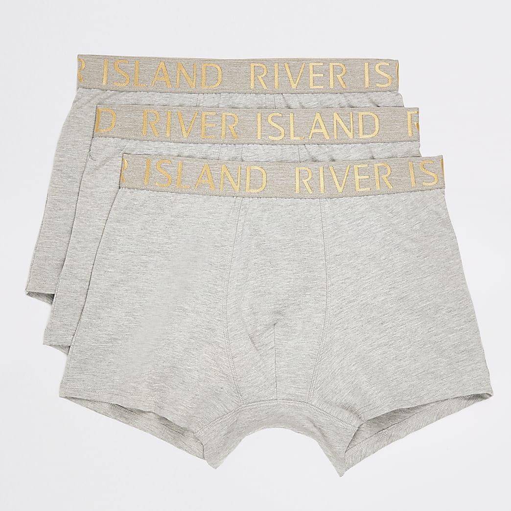 Set van 3 grijze strakke boxers met metallic RI-tailleband