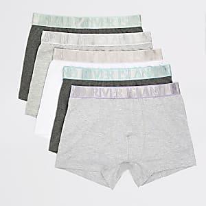 Set van 5 grijze strakke boxers met metallic RI-tailleband