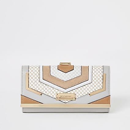Grey RI monogram blocked cliptop purse