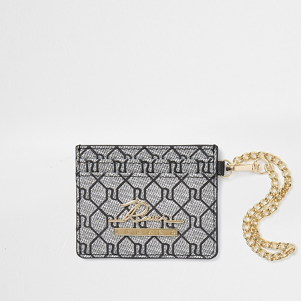 Grey RI monogram card holder wallet