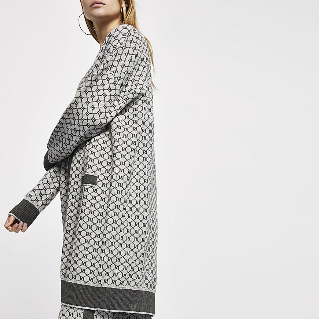 Grey RI monogram cardigan