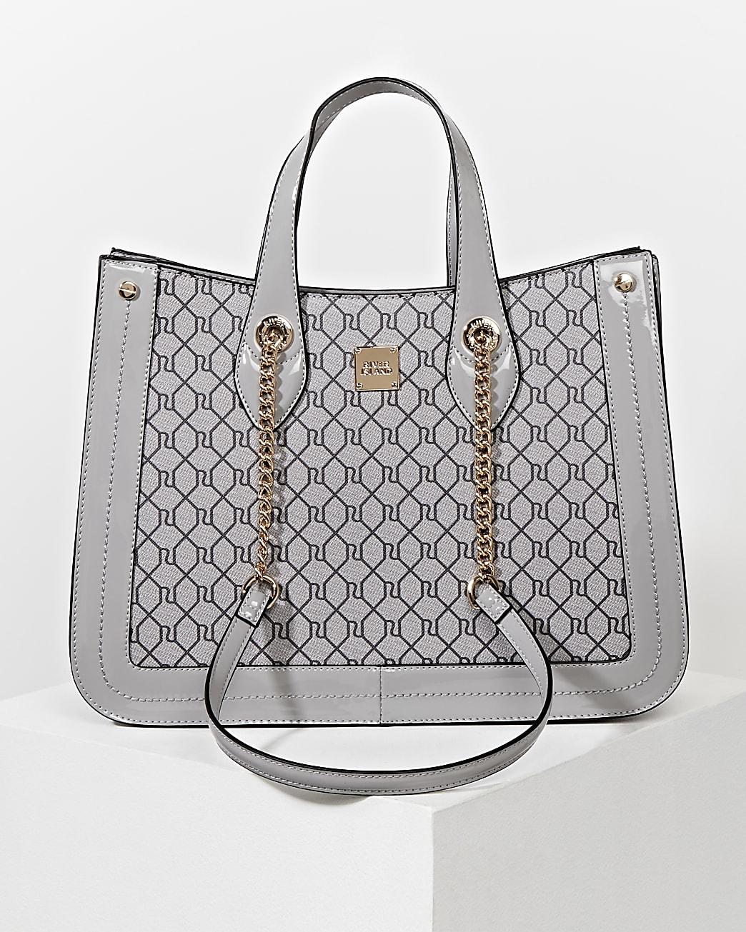 Grey RI monogram chain handle shopper bag