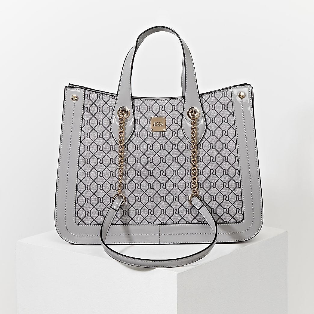 Grey RI monogram chain handle shopper bag
