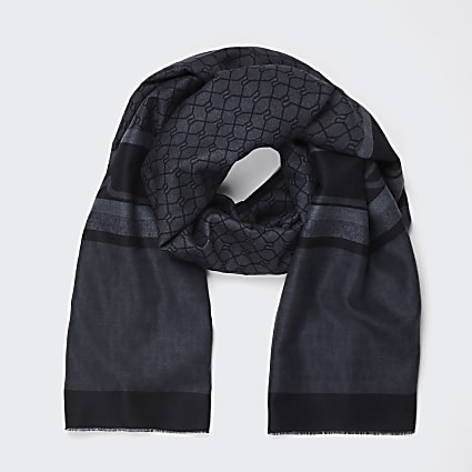Grey RI monogram detail scarf