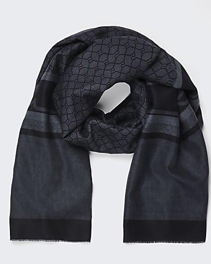 Grey RI monogram detail scarf