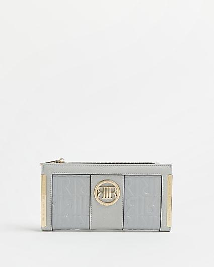 Grey RI monogram embossed purse