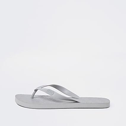Grey RI monogram flip flops