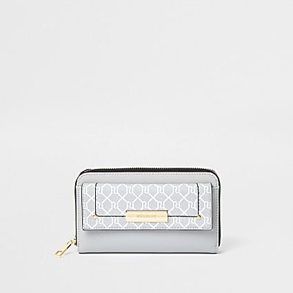Grey RI monogram front flap ziparound purse