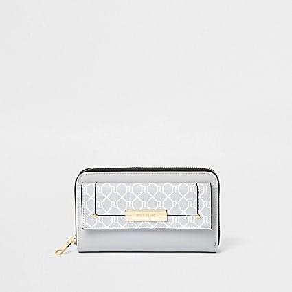 Grey RI monogram front flap ziparound purse