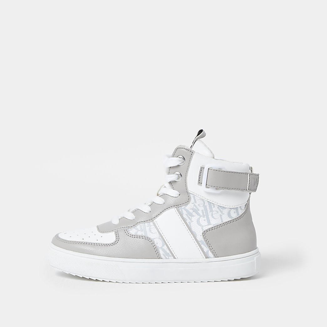 Grey RI monogram high top trainers