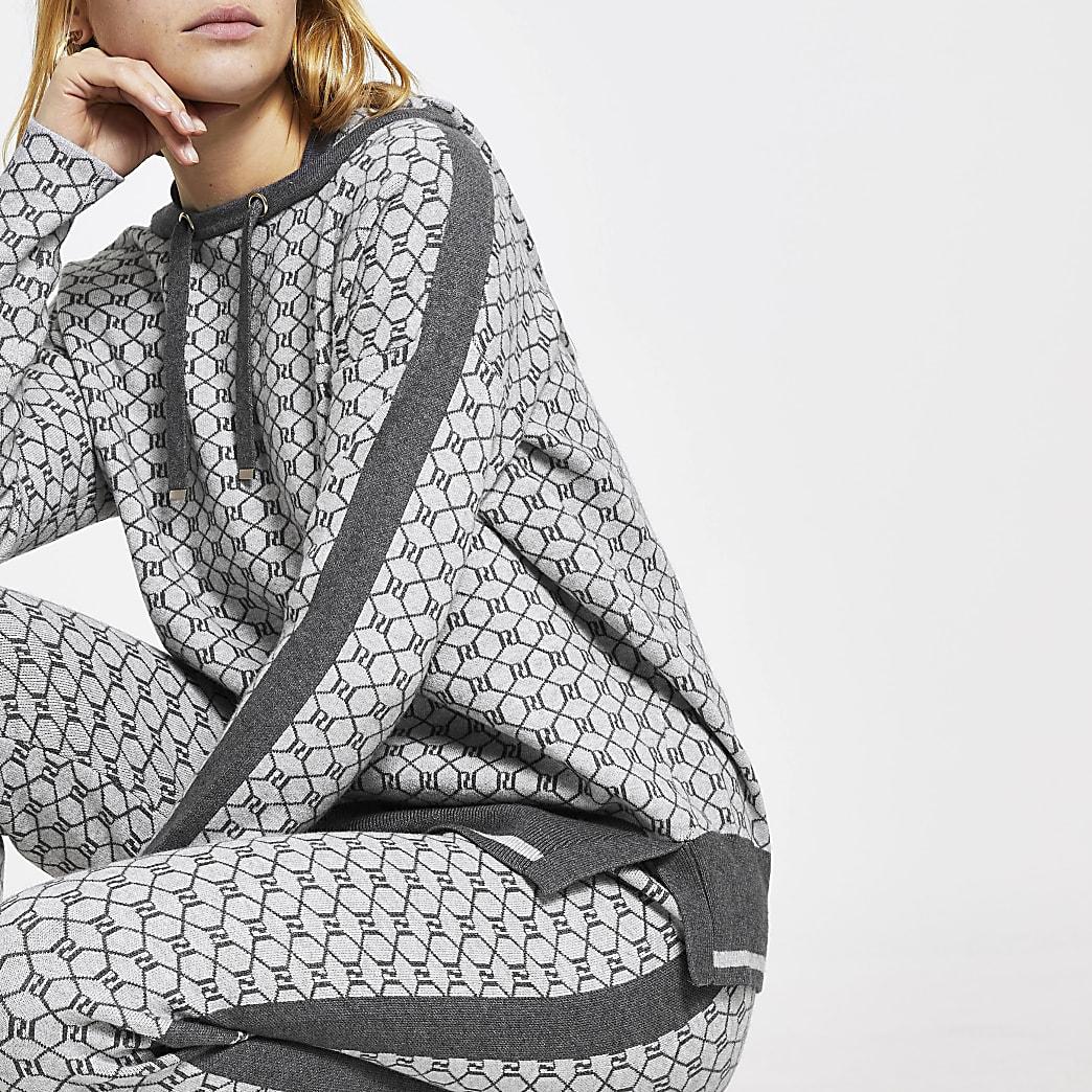Grey RI monogram hoodie