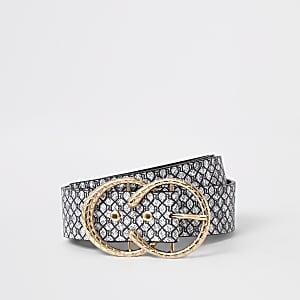 Grey RI monogram horseshoe buckle belt