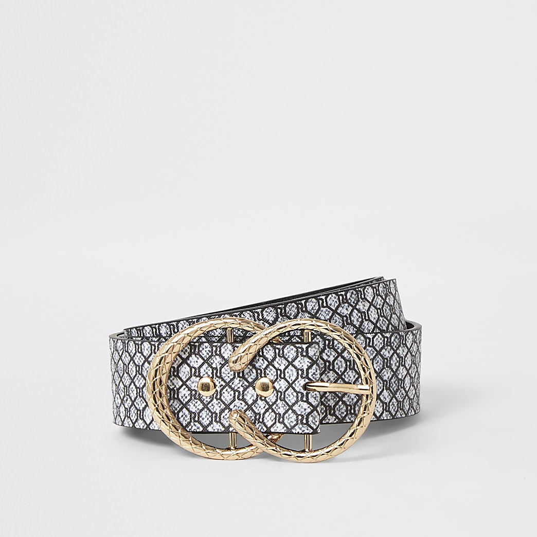 Grey RI monogram horseshoe buckle belt