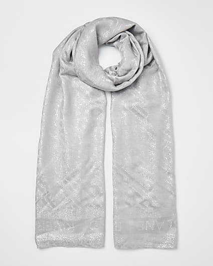 Grey RI monogram jacquard scarf