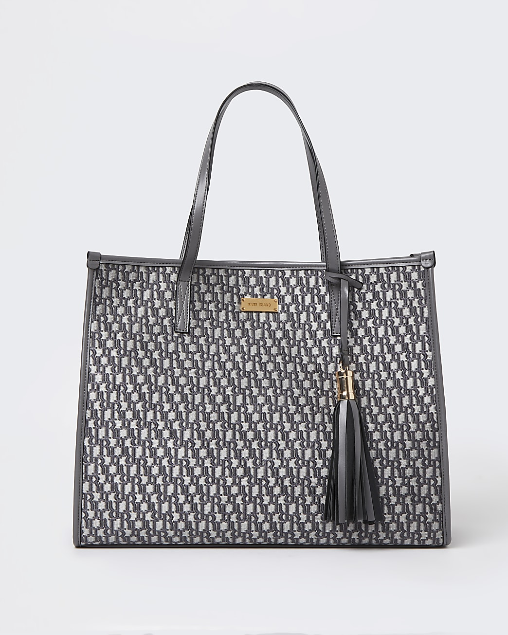 Grey RI monogram jacquard shopper bag
