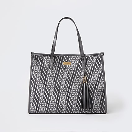 Grey RI monogram jacquard shopper bag