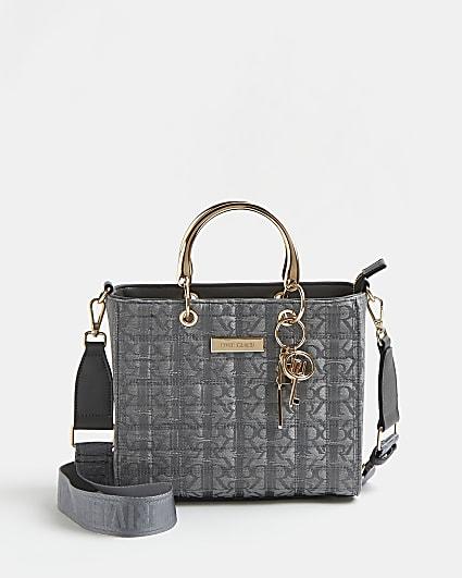 Grey RI monogram jacquard tote bag