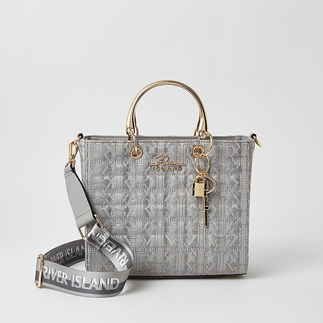 Grey RI monogram jacquard tote bag