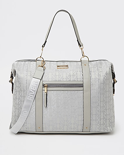 Grey RI monogram jacquard weekend bag