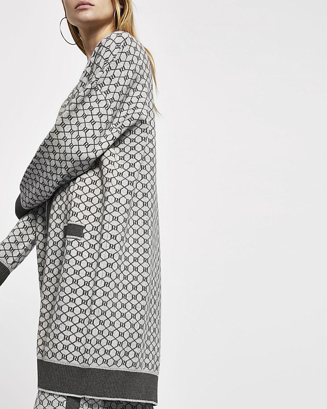 Grey RI monogram knitted cardigan