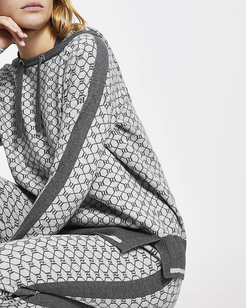 Grey RI monogram knitted hoodie