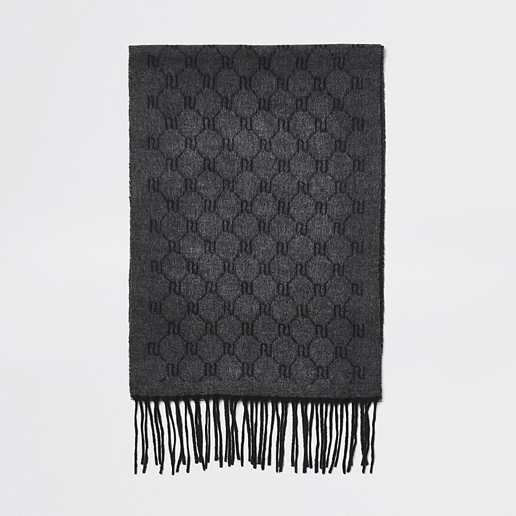 Grey RI monogram knitted scarf