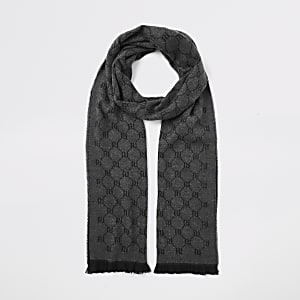 Grijze gebreide sjaal met RI-monogram