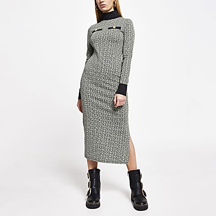 Grey RI monogram long sleeve midi dress