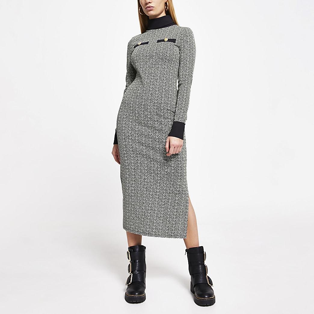 Grey RI monogram long sleeve midi dress