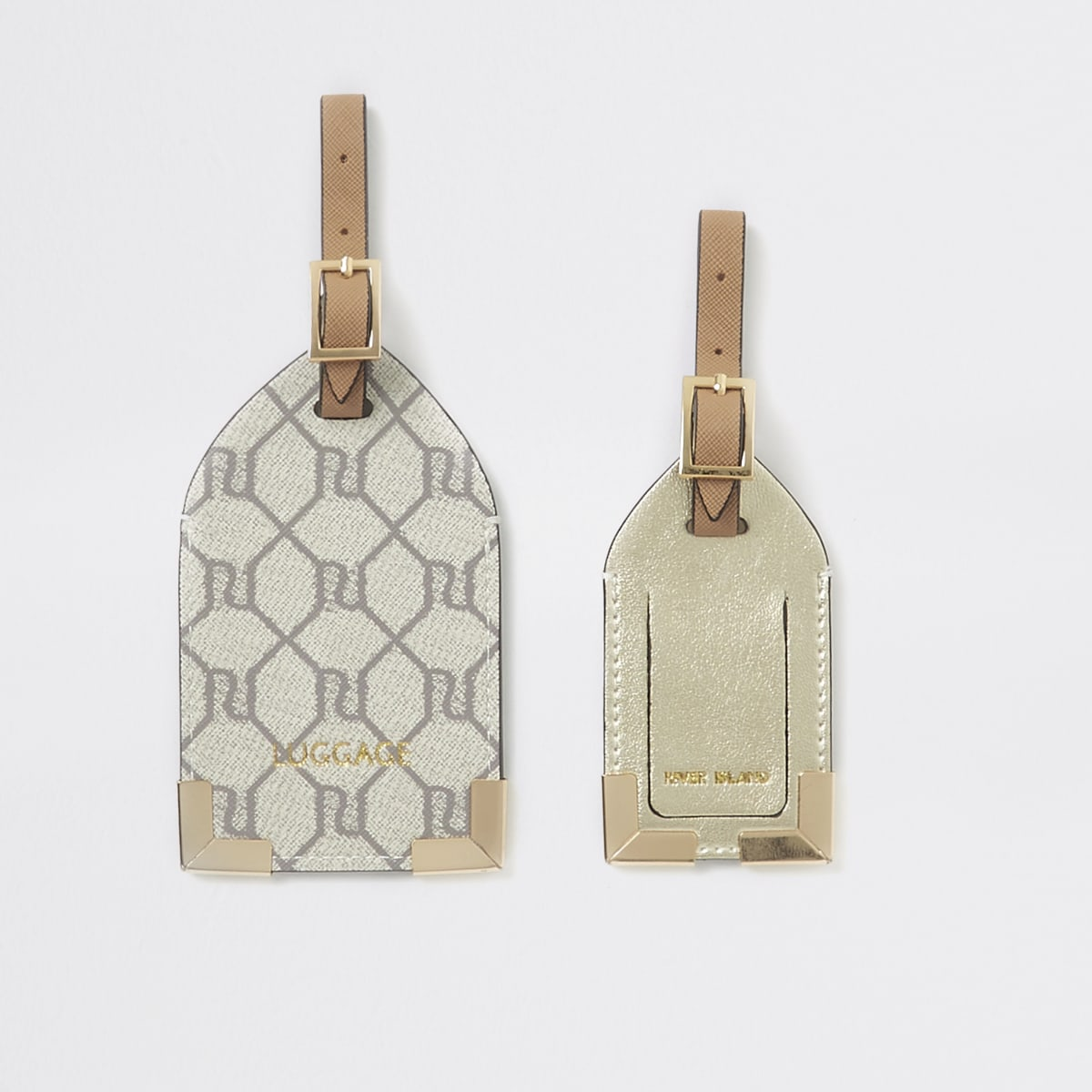 Grey RI monogram luggage tag set