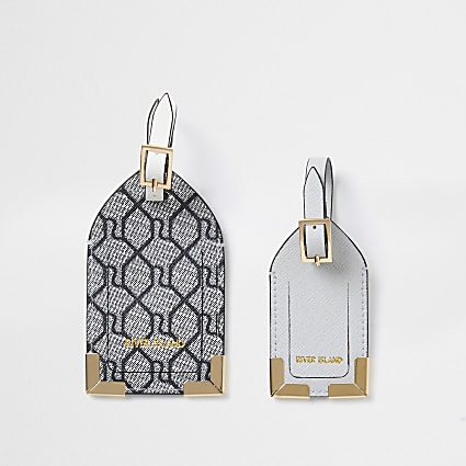 Grey RI Monogram Luggage Tags